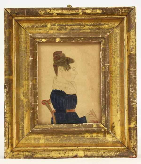 """Early 19th C. American school miniature portrait painting, profile of a woman seated with hair comb and book, reverse reads Jane M. Luckie, sight size 3.75"""" x 2.75"""""""