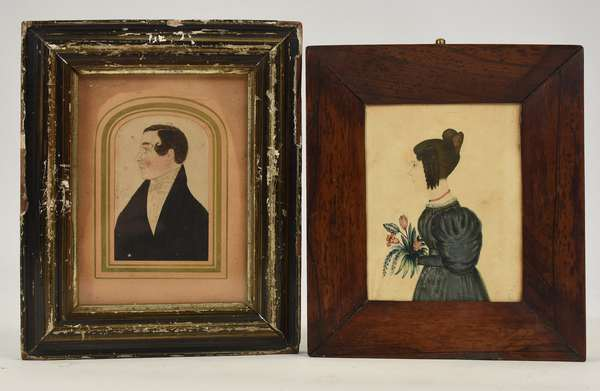 """Two 19th C. miniature portrait paintings, woman with flowers Jane Morris Hatfield 4.25"""" x 3.5"""" with a profile portrait of gentleman with curl, 3.25"""" x 2.25"""""""