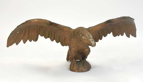 """Large gilt iron spread wing eagle, 47""""L. x 17""""H."""