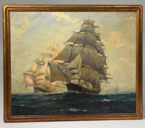 """Oil on canvas signed Frank Vining Smith lower right, two ships in full sail, in a Newcomb Macklin frame, 34"""" x 40"""""""