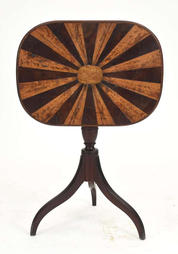 """An exceptionally fine Federal Boston mahogany candle-stand with alternating radiate flame birch and mahogany top intricate inlaid edge, old finish, workshop of Thomas Seymour, ca.1805-1815, 28""""H. x top 19"""" x 25.5"""" top 19"""" x 25.5"""""""