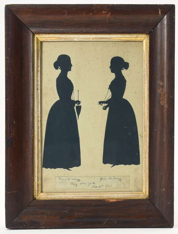 """19th C. double silhouette of Francis and Julia Kellogg 1841, Troy NY, sight 10.5"""" x 8"""""""