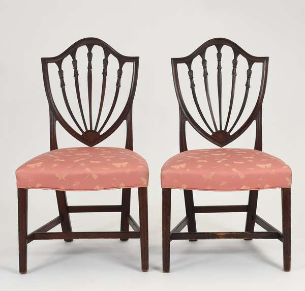 """Fine pair of New England Federal mahogany shield back chairs, carved bellflowers with inlaid fans, original finish ca.1800, Williams Family, 18"""" seat height. x 38""""Back height"""
