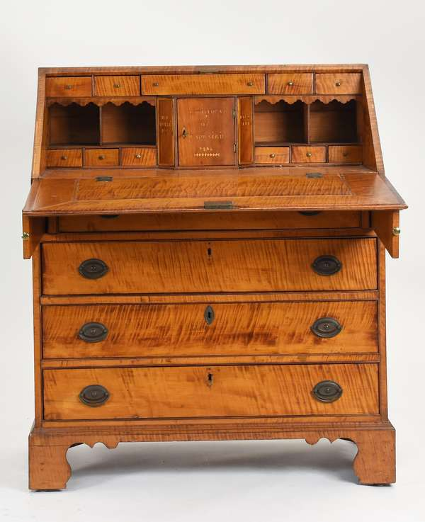 """Highly unusual Federal tiger maple slant lid desk, with inlaid interior, inscribed """"Louis Luca's De Laprairie 1806"""" on prospect door, on document drawers """"H.P. Valle' M.B."""" and Dieu Seul"""", 38.5""""W. x 45""""H."""