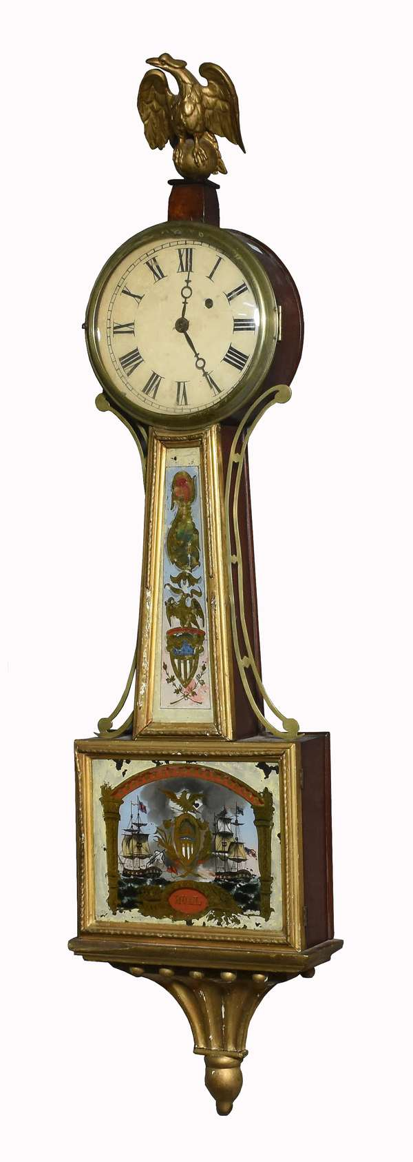 """Early 19th C. weight driven banjo clock with battleship tablets, """"Hull"""" 43""""H."""