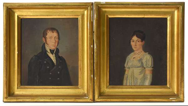"""Pair of early 19th C. oil on wood boards portrait of Mr. & Mrs. Schafer, 7"""" x 6"""""""