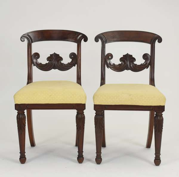 """Set of six Federal carved mahogany Boston dining chairs, Williams Family, ca.1830, seat 18""""H. - back 34""""H."""