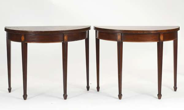 """Fine pair of Federal demi-lune mahogany card tables with conch shell inlays, and bead carved legs on spade feet, ca. 1800, Williams Family Boston, 36""""W. x 28.5""""H."""