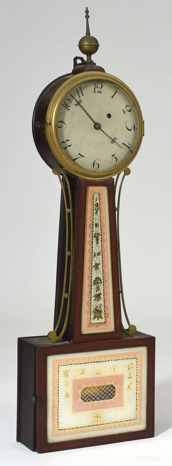 """19th C. banjo clock with original early eglomise tablets, inlaid case, 34""""H."""