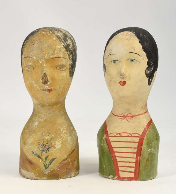 """Two 19th C. papier mache and painted Milliners heads, 16""""H."""