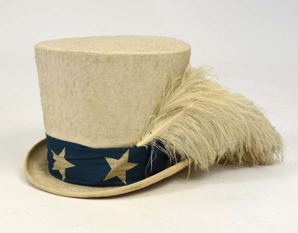 """Mid 19th C. American campaign or parade hat, with feather, 7""""H. x 12""""L."""