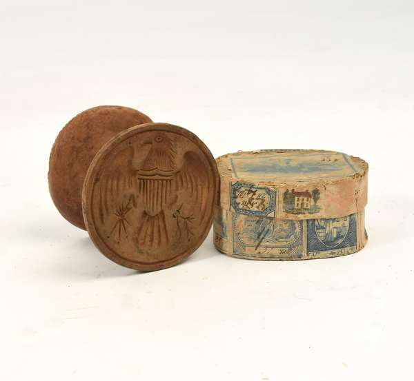 From the estate of Winifred Harding, miniature band box with a double butter stamp