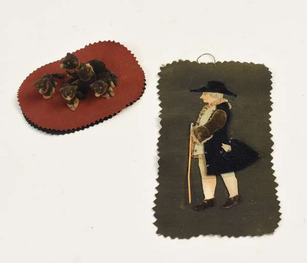 """Two antique fabric pen wipes, Colonial gentleman with cane 5.5""""H. figure with dogs"""