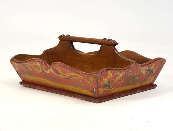 """19th C. paint decorated knife tray - red, yellow, blue, green and white, likely VT origin, 12""""L."""