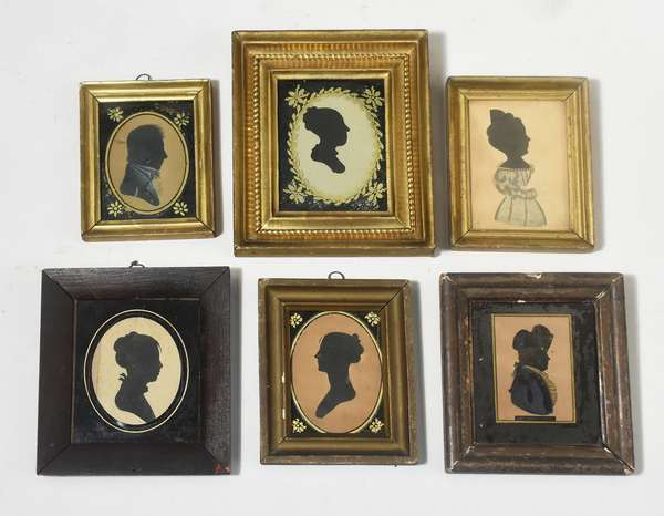 Collection of six early framed silhouettes four profiles of women, two of gentlemen including Captain Hardy 1803