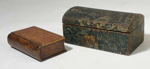 """19th C. paint decorated wooden book box with a drawer 10""""H. x 6""""D. with a dome top wallpaper covered document box, 13""""L."""