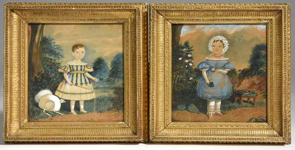 """Pair of early 19th C. watercolors on paper primitive portraits of children in landscape, period frames 8.5"""" x 7.5"""" image size"""