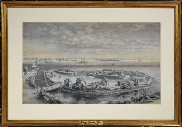 """Watercolor/gouache depicting British camp at Paulus Hook in 1776 by E.L. Henry, 12"""" x 20"""""""