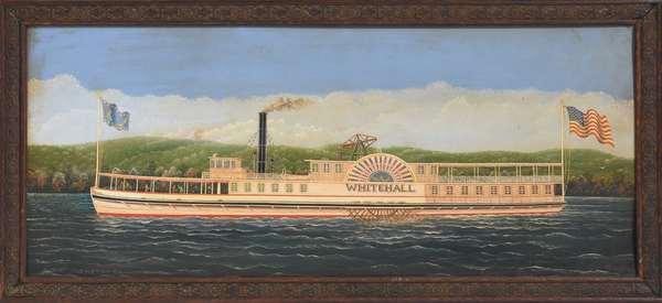 """Oil on artist's board, the paddle wheeler """"Whitehall"""" by Albert Nemethy Sr., 8.5"""" x 21.5"""""""