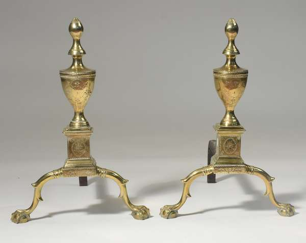 """Good pair of Chippendale """"bright-cut"""" andirons with claw n ball feet, 20""""H. ca. 1780-1800"""