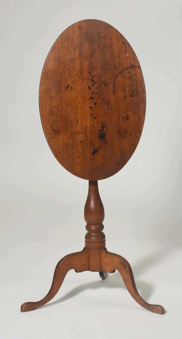 18th C. NH birch tilt top candlestand with vine inlay and oval top, old finish, ca.1790
