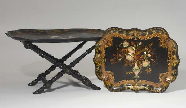 """Pair of exceptional 19th C. papier mache scalloped trays, 31"""" and 25""""L. with period folding stand"""