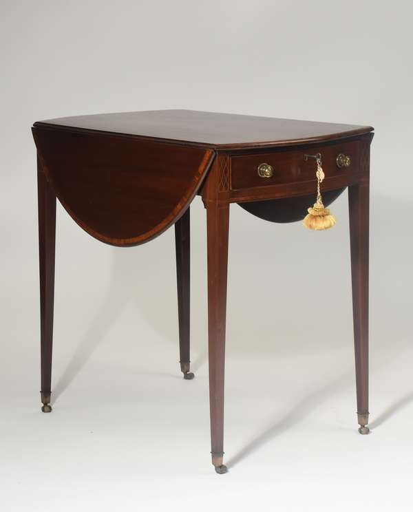 """Fine Hepplewhite inlaid mahogany one drawer Pembroke table with bowed ends and leaves on castor feet, 28""""H. x 30""""L."""