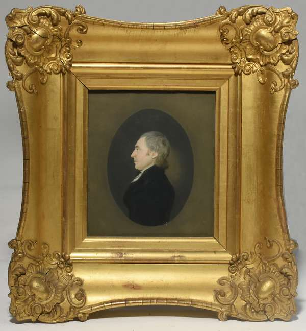 """Pastel portrait of a man in silhouette, attrib. to James Sharples, oval size 7"""" x 5"""" in a period gilt frame"""