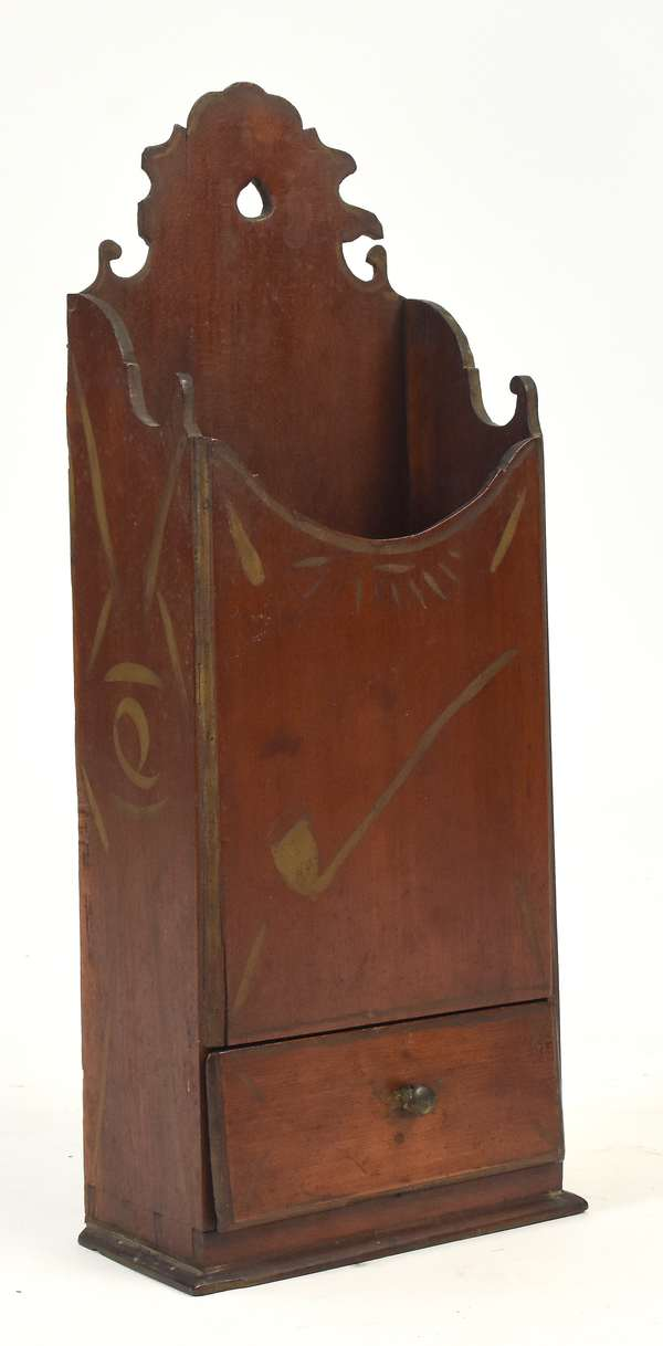 """Fine 18th C. one drawer cherry pipe/wall box with a drawer, dovetailed construction and stencil decoration, 17""""H. x 6.5""""W."""