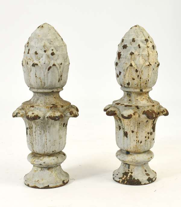 """Pair of 19th C. cast iron pineapple post finials in old gray paint, 21""""H."""