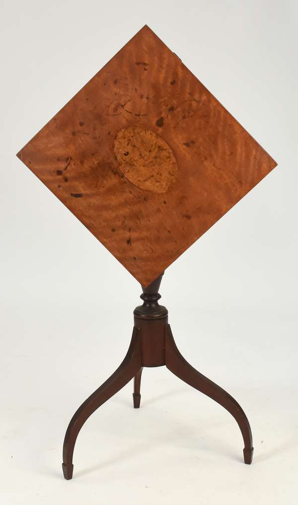 Federal tilt top birch candlestand with birdseye maple oval inlaid top on spade feet, old red stain, NH ca.1810-1815