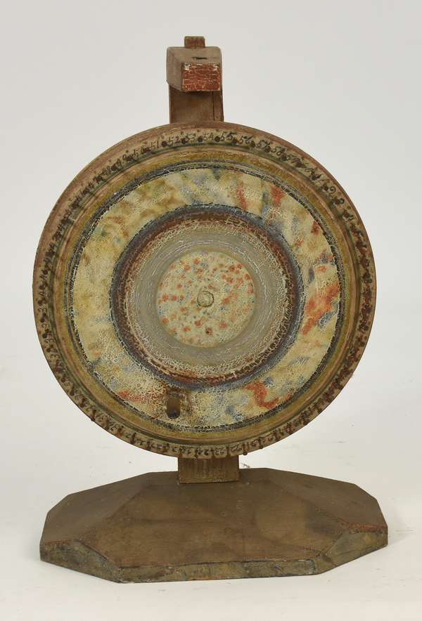 """Good 19th C. paint decorated country game wheel, 21""""H. x 14""""D. wheel"""