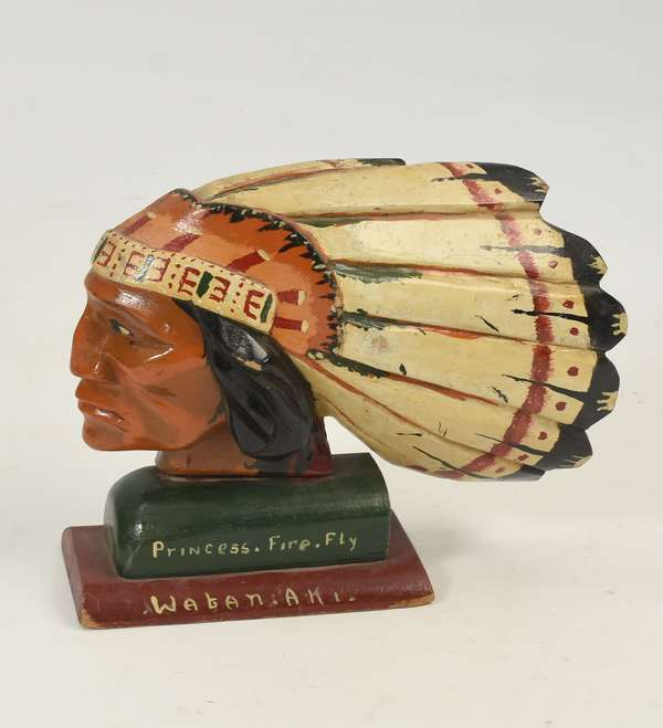 """Folk Art wood carving Indian Chief """"Princess Fire Fly Wabanaki"""" in polychrome paint decoration, 9""""H. x 11""""L."""