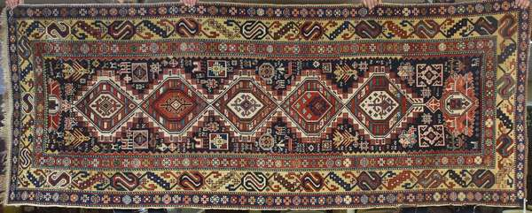 """Late 19th C. Caucasian Oriental rug with five medallions, 4'x 9'6"""""""