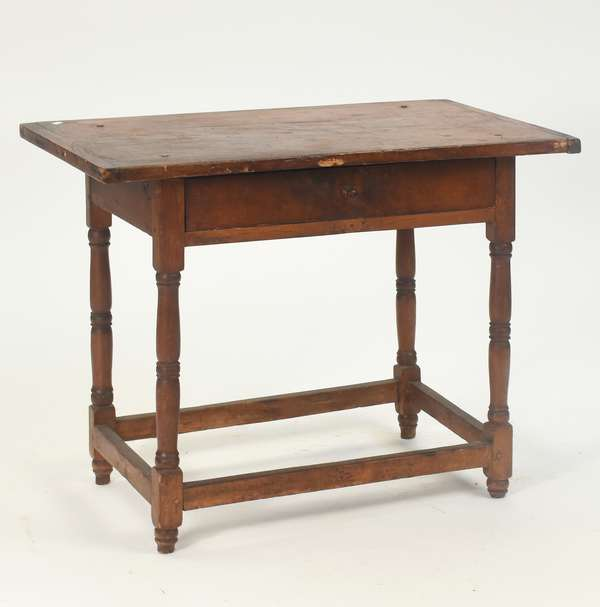 """18th C. small size New England stretcher base tavern table, with one drawer and original top, 25.5""""H x 31""""L x 20""""D"""