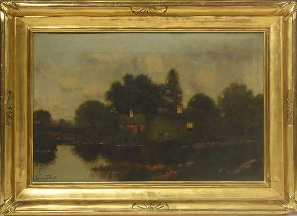 """Oil on canvas, House on Pond, signed George W. Drew, 12""""x 18"""""""