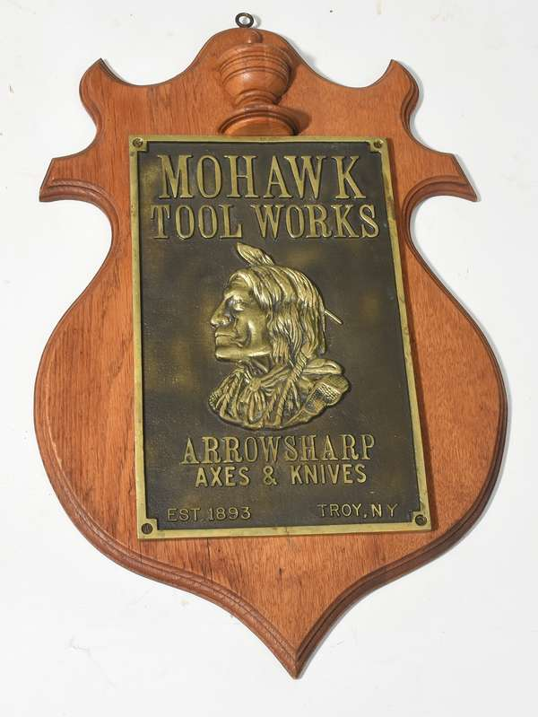 Mohawk Tool Works brass plaque mounted on wood