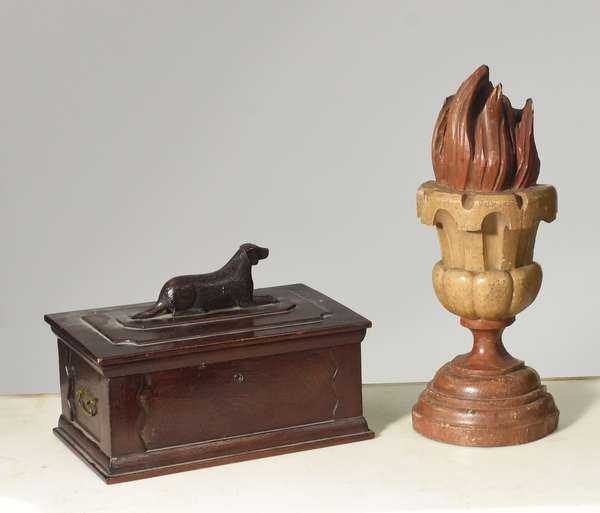 """Country document box with carved dog handle 12""""L. x 8""""W. x 9""""H., with a carved wooden and painted torch, 17""""H.  (22,27)"""