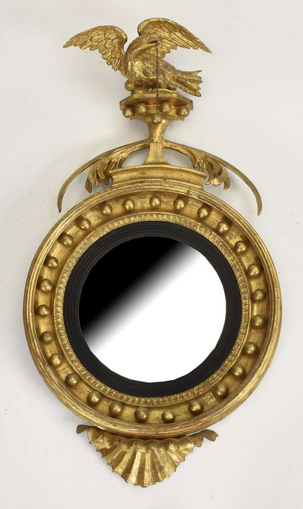 """Good Federal small size carved and gilt convex wall mirror with eagle crest, ca.1820, 30""""H. x 16""""W."""