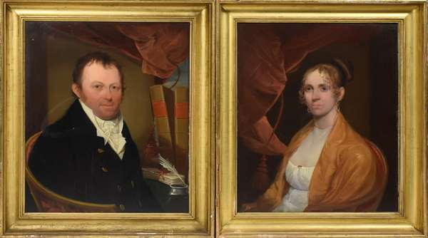 """Pair of Portraits, oil on board of John and Hannah Williams, Boston-Roxbury MA, signed J. Johnston dated 1811, with family history, board size 30"""" x 24"""""""