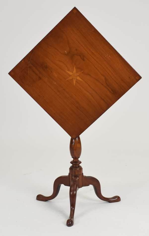 Good Queen Anne CT cherry tilt top birdcage candlestand with star inlaid top, ca.1790