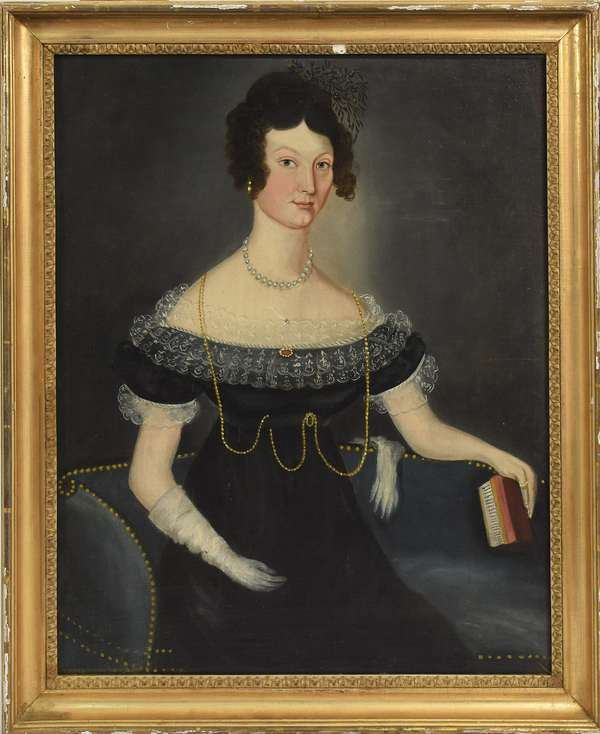 """Oil on canvas, portrait of Jane Johnton painted in 1826, 24"""" x 20"""", exhibited at the Currier Museum, Raley estate, 24"""" x 20"""""""