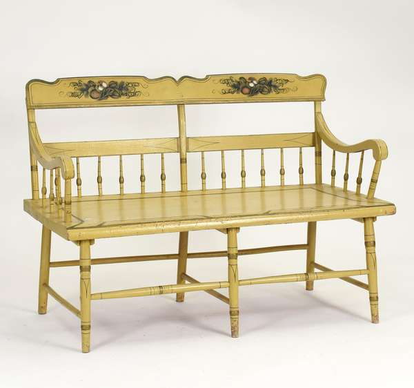"""19th C. small size paint decorated PA deacons bench, 50""""L. x 35""""H."""