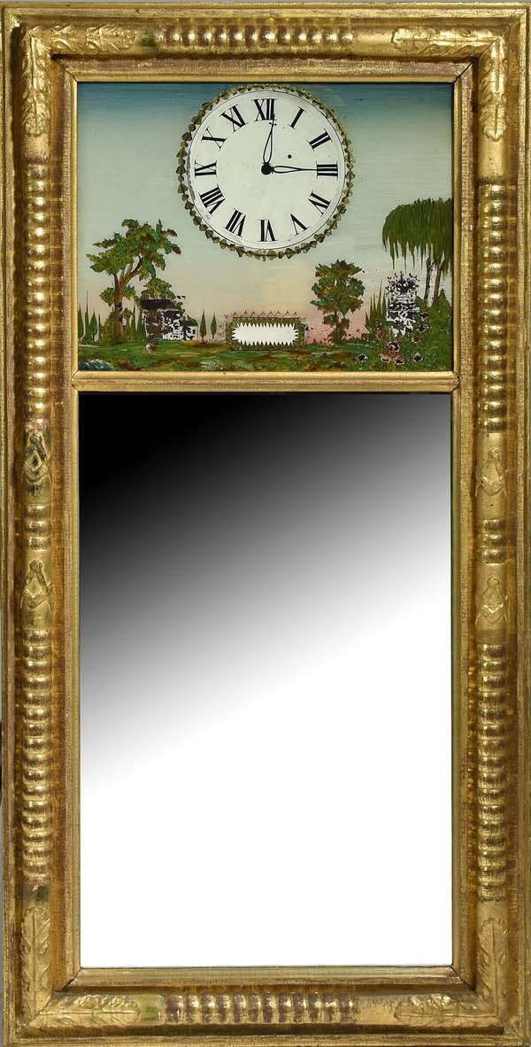 """Good Federal wall mirror, eglomise tablet clock and landscape, similar to a NH mirror clock, ca.1825, 39""""H. x 19""""W."""