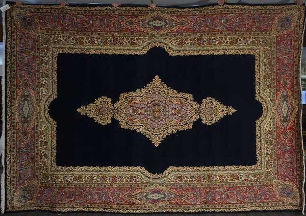 "Room size Oriental Kerman rug, navy field, 9'2"" x 12'10"""