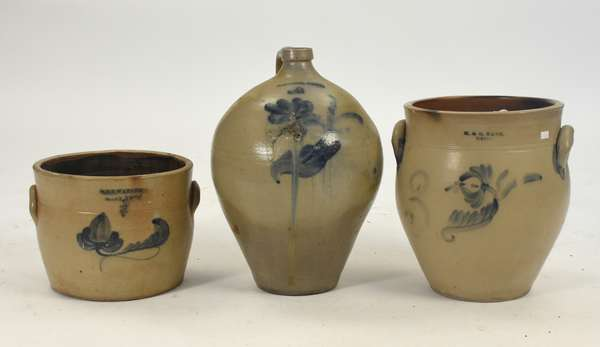 """Three cobalt decorated stoneware pieces: handled jug by M. White, Utica, 16""""H., double handled crock by H. & G. Nash, Utica, 12.5""""H. and a crock by W.M.E. Warner, West Troy, 8.5""""H."""