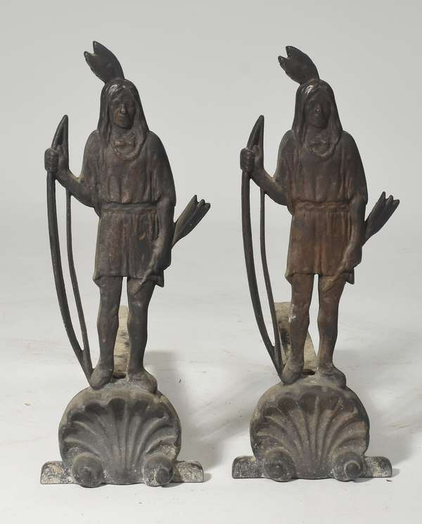 """Pair of antique iron Native American andirons, with bows and arrows, 19""""H."""