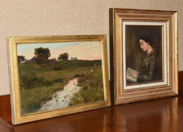 "Country oil on board, landscape, along with a young girl portrait painting, 9"" x 13"" & 9.5"" x 7.5"" (35-6)"