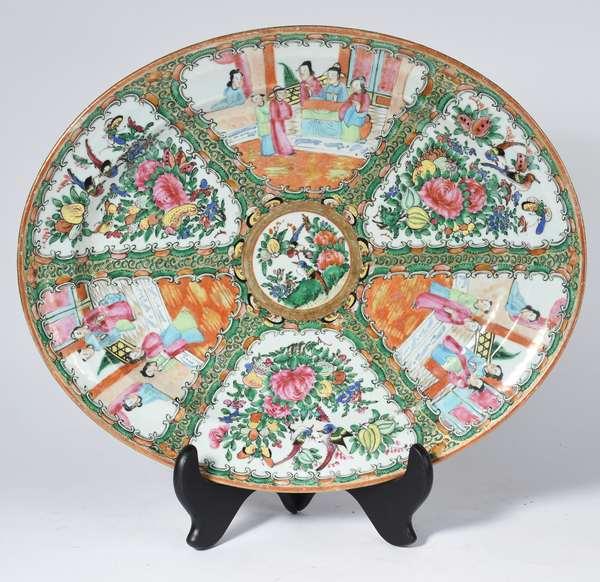 """Large rose medallion platter, 16""""L (5-405)"""