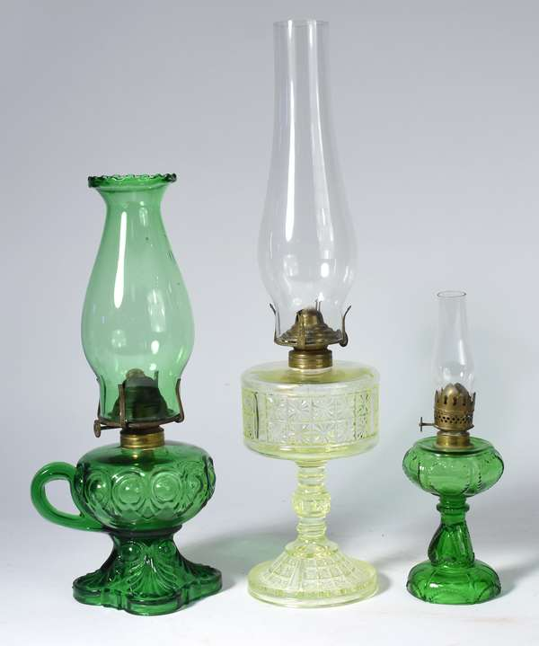 "Three colored glass oil lamps, 10""H. - 18""H. (5-408)"